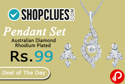 Pendant Set Australian Diamond Rhodium Plated