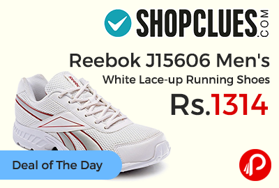 Reebok J15606 Men's White Lace-up Running Shoes