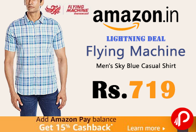 Flying Machine Men's Sky Blue Casual Shirt