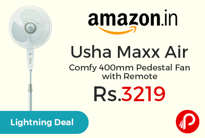 Usha Maxx Air Comfy 400mm Pedestal Fan with Remote