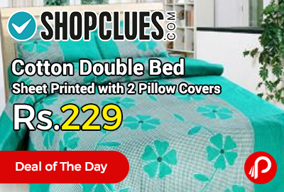 Cotton Double Bed Sheet Printed With 2 Pillow Covers