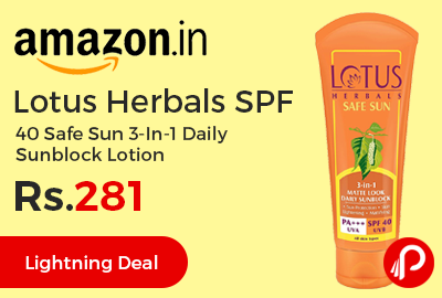 Lotus Herbals SPF 40 Safe Sun 3-In-1 Daily Sunblock Lotion