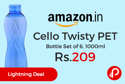 Cello Twisty PET Bottle Set of 6, 1000ml