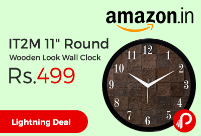 "IT2M 11"" Round Wooden Look Wall Clock"