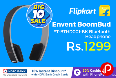 Envent BoomBud ET-BTHD001-BK Bluetooth Headphone