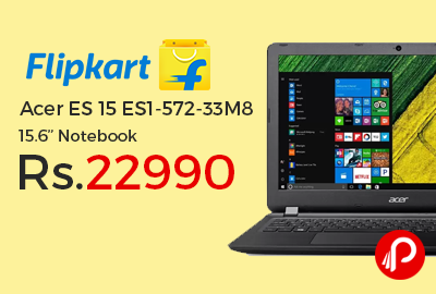 "Acer ES 15 ES1-572-33M8 15.6"" Notebook at Rs.22990 Only - Flipkart"