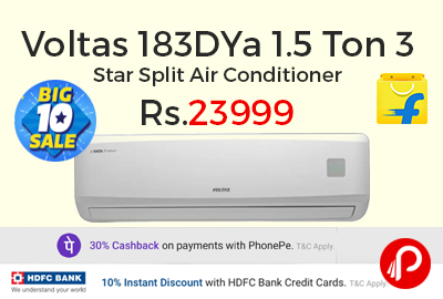 Voltas 183DYa 1.5 Ton 3 Star Split Air Conditioner at Rs.23999 only - Flipkart