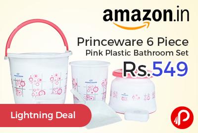 Princeware 6 Piece Pink Plastic Bathroom Set