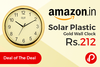 Solar Plastic Gold Wall Clock