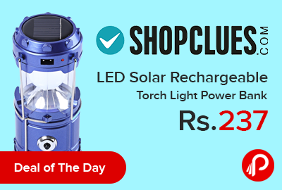 LED Solar Rechargeable Torch Light Power Bank