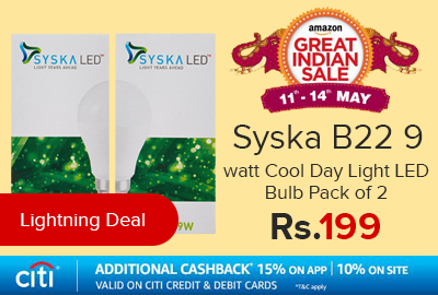 Syska B22 9 watt Cool Day Light LED Bulb Pack of 2