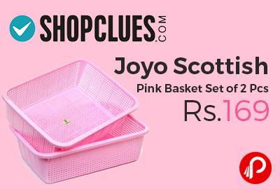 Joyo Scottish Pink Basket Set of 2 Pcs