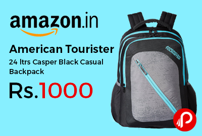 American Tourister 24 ltrs Casper Black Casual Backpack