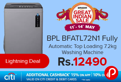BPL BFATL72N1 Fully Automatic Top Loading 7.2kg Washing Machine at Rs.12490 - Amazon