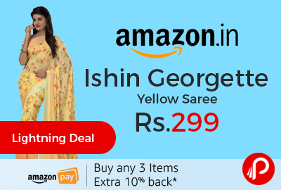 Ishin Georgette Yellow Saree