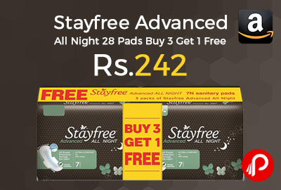 Stayfree Advanced All Night 28 Pads Buy 3 Get 1 Free