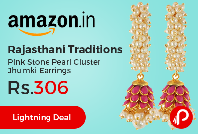 Rajasthani Traditions Pink Stone Pearl Cluster Jhumki Earrings at Rs.306 Only - Amazon