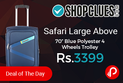 "Safari Large Above 70"" Blue Polyester 4 Wheels Trolley"