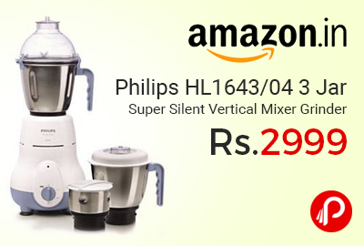Philips HL1643/04 3 Jar Super Silent Vertical Mixer Grinder at Rs.2999 Only - Amazon