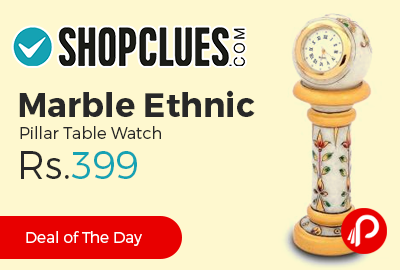 Marble Ethnic Pillar Table Watch