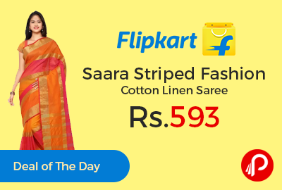 Saara Striped Fashion Cotton Linen Saree