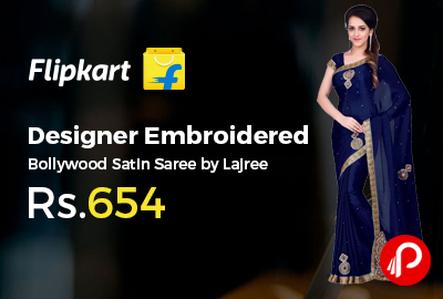 Designer Embroidered Bollywood Satin Saree