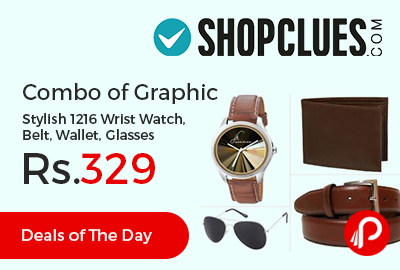 Combo of Graphic Stylish 1216 Wrist Watch, Belt, Wallet, Glasses at Rs.329 - Shopclues