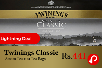 Twinings Classic Assam Tea 100 Tea Bags at Rs.441 Only - Amazon