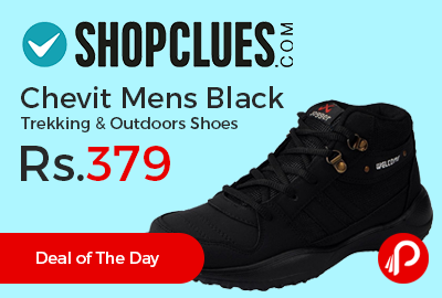 Chevit Mens Black Trekking & Outdoors Shoes