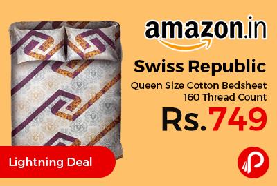 Swiss Republic Queen Size Cotton Bedsheet 160 Thread Count