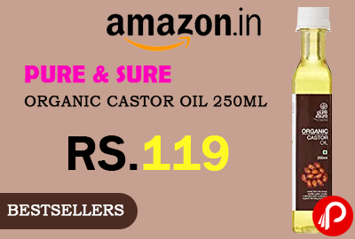 Pure & Sure Organic Castor Oil 250ml just at Rs.119 Only - Amazon