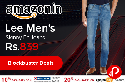 Lee Men's Skinny Fit Jeans at Rs.839 Only - Amazon