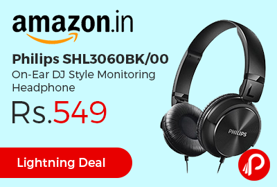 Philips SHL3060BK/00 On-Ear DJ Style Monitoring Headphone