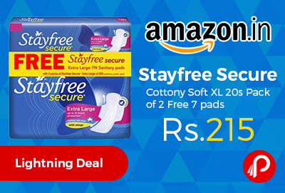 Stayfree Secure Cottony Soft XL 20s Pack of 2 Free 7 pads
