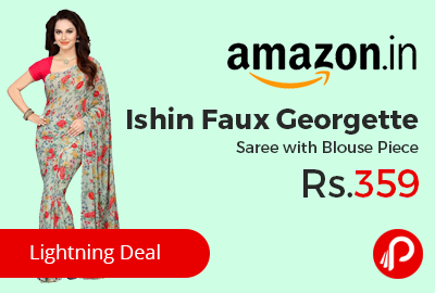 Ishin Faux Georgette Saree with Blouse Piece at Rs.359 Only - Amazon