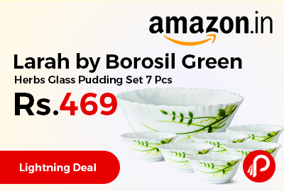 Larah by Borosil Green Herbs Glass Pudding Set 7 Pcs