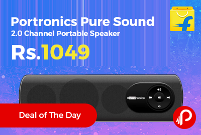 Portronics Pure Sound 2.0 Channel Portable Speaker at Rs.1049 Only - Flipkart