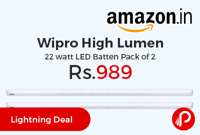 Wipro High Lumen 22 watt LED Batten Pack of 2 at Rs.989 Only - Amazon