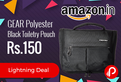GEAR Polyester Black Toiletry Pouch at Rs.359 Only - Amazon