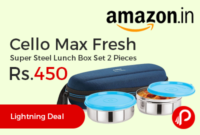 Cello Max Fresh Super Steel Lunch Box Set 2 Pieces