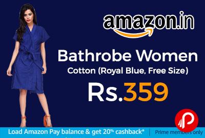 Bathrobe Women Cotton (Royal Blue, Free Size)