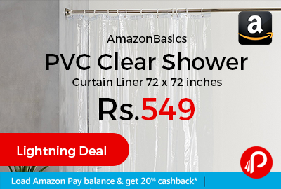 AmazonBasics PVC Clear Shower Curtain Liner 72 x 72 inches