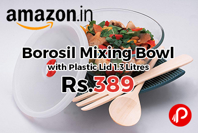Borosil Mixing Bowl with Plastic Lid 1.3 Litres