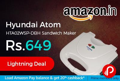 Hyundai Atom HTA02WSP-DBH Sandwich Maker at Rs.649 Only - Amazon
