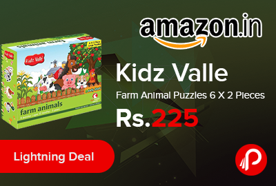 Kidz Valle Farm Animal Puzzles 6 X 2 Pieces