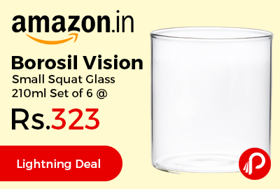 Borosil Vision Small Squat Glass 210ml Set of 6