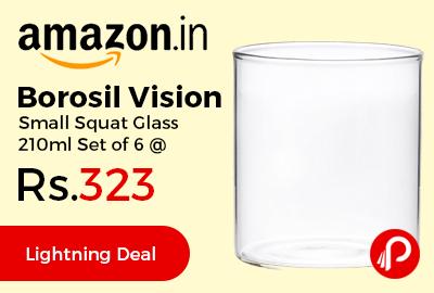 Borosil Vision Small Squat Glass 210ml Set of 6