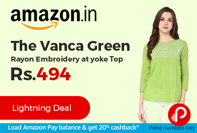 The Vanca Green Rayon Embroidery at yoke Top