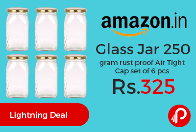 Glass Jar 250 gram rust proof Air Tight Cap set of 6 pcs