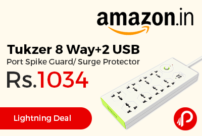 Tukzer 8 Way+2 USB Port Spike Guard/ Surge Protector